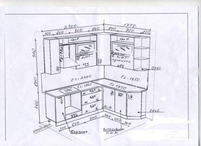 рисуется схема шкафов с