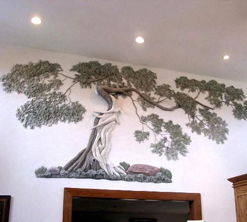 Дерево из гипса на стене видео