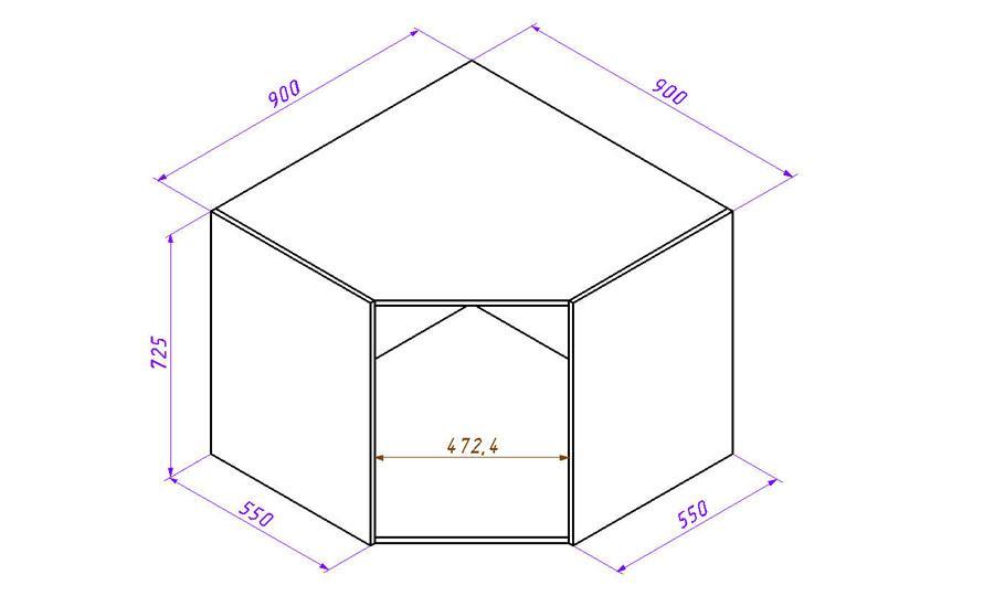 Угловой шкаф напольный схема