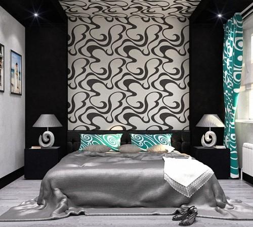 шторы для черно-белой спальни фото