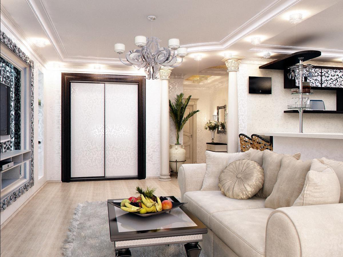 Дизайн кухни совмещенной с гостиной и коридора