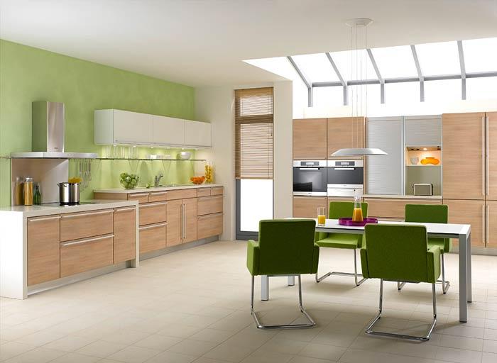 Зеленые стены на кухне цвет мебели