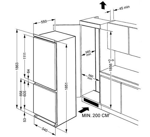холодильник встроенный в шкаф инструкция по монтажу установка