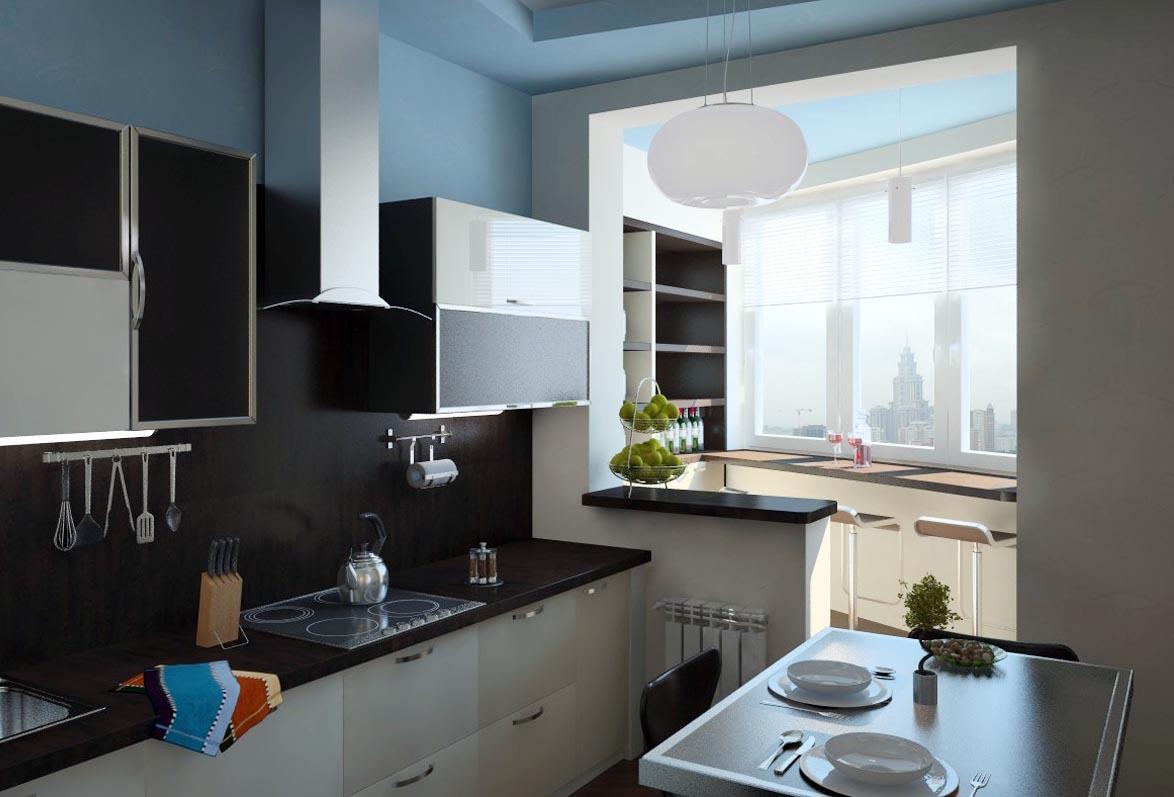 Дизайн кухни совмещенной с лоджией.