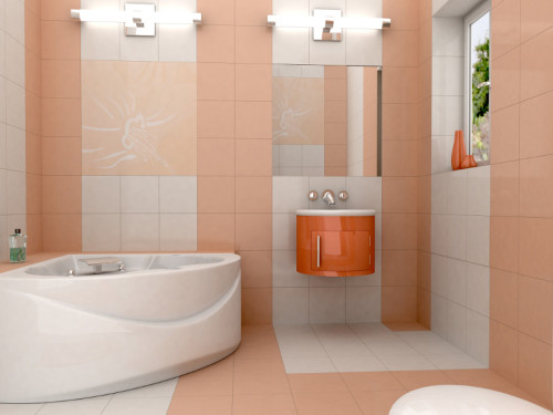 3D rendering of a modern bathroom with glass vanity. The photo on the wall is my own photograph