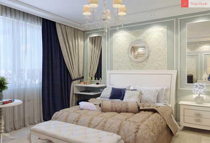 Дизайн спальни 12 кв.м в классическом стиле