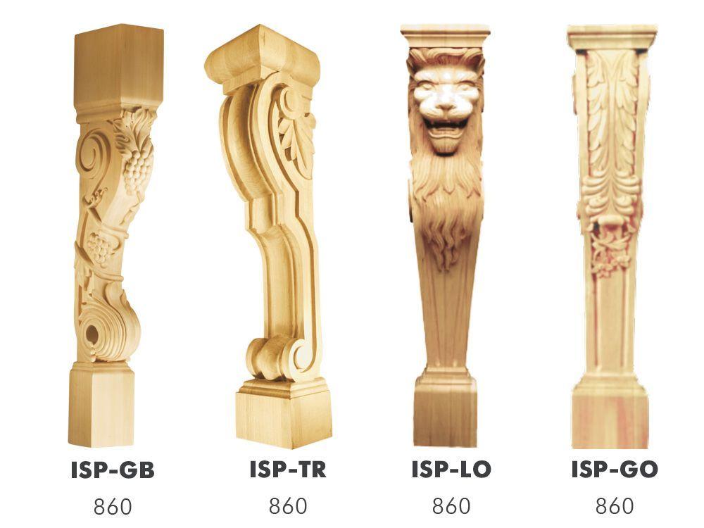 Резные столбы, опоры, балясины и колонны из дерева для