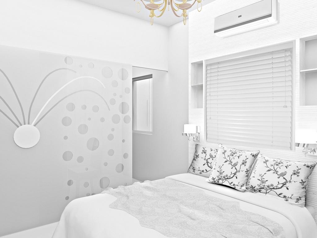 комната с белыми обоями фото