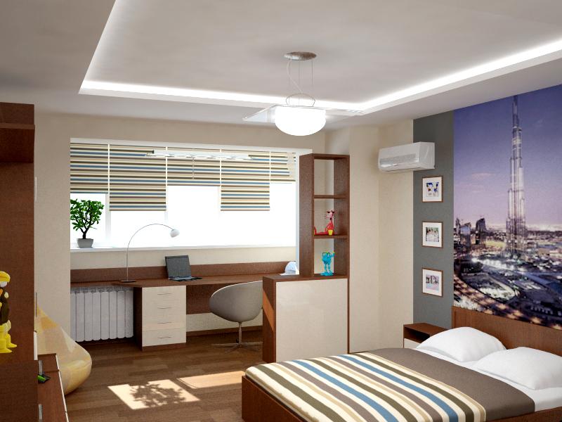 Комната для подростка мальчика совмещенная с балконом..