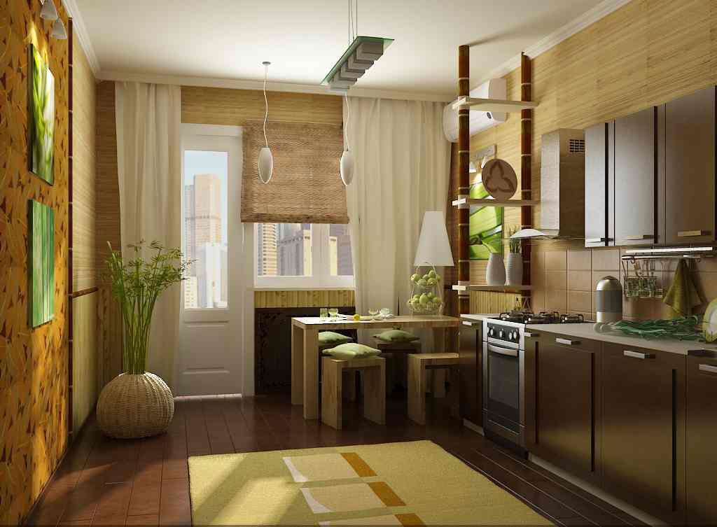 Бамбуковые обои на кухне фото