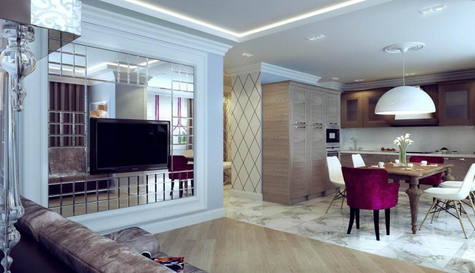Дизайн кухни с зеркалом на стене