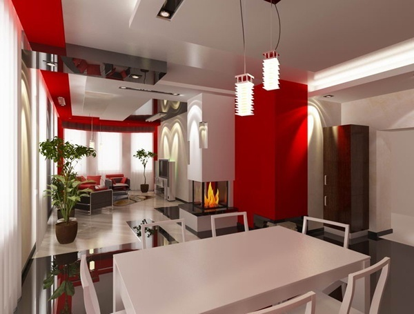 Интерьер красной кухни и гостиной фото 2016 современные идеи 20 кв