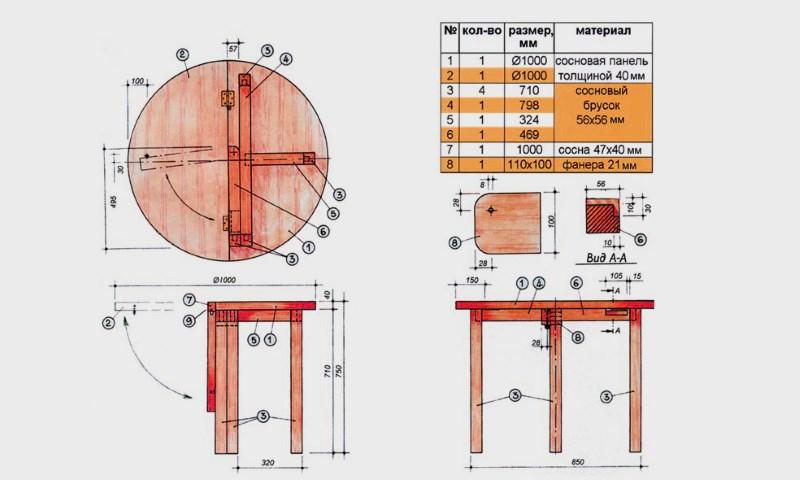 Круглый стол раздвижной своими руками чертежи 3