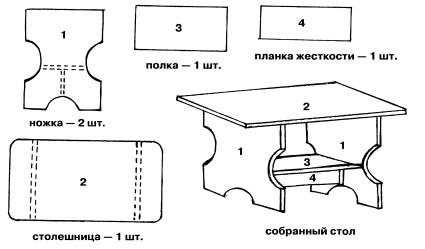 Детская столик чертеж