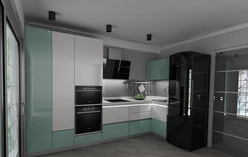 Дизайн угловой кухни в стиле минимализм