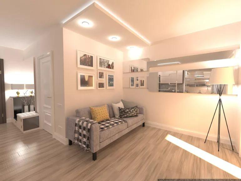 Дизайн гостиной без окна